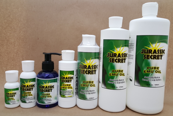 Jurassic Secret Emu Oil Products in 7 Sizes